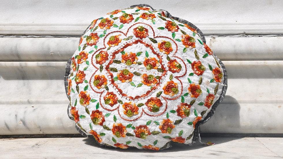 Vibrant Floral Round Pillow Case