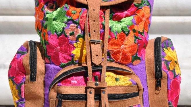 Floral Purple Embroidered Huipil Backpack