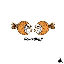 Kiss or Hug Fun Fish Illustration