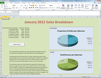 Excel spreadsheets with customized macros can be used to present business intelligence and data analytics information.