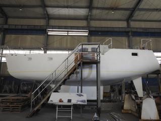 Sail 40S, 건조 중, sail 40S Steel hull under construction