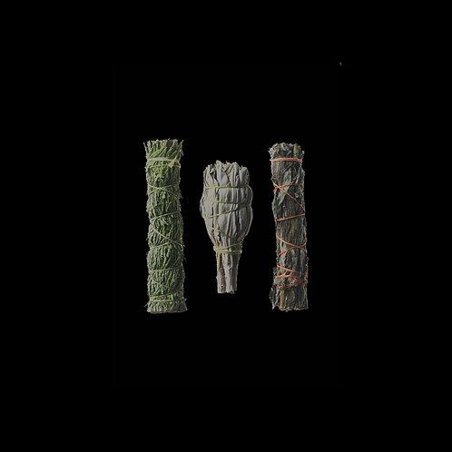 Holy Trinity Smudging Set (Cedar, Sage, Mugwart)