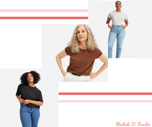 3 separate cascading shots of 3 women models in t shirts and pants