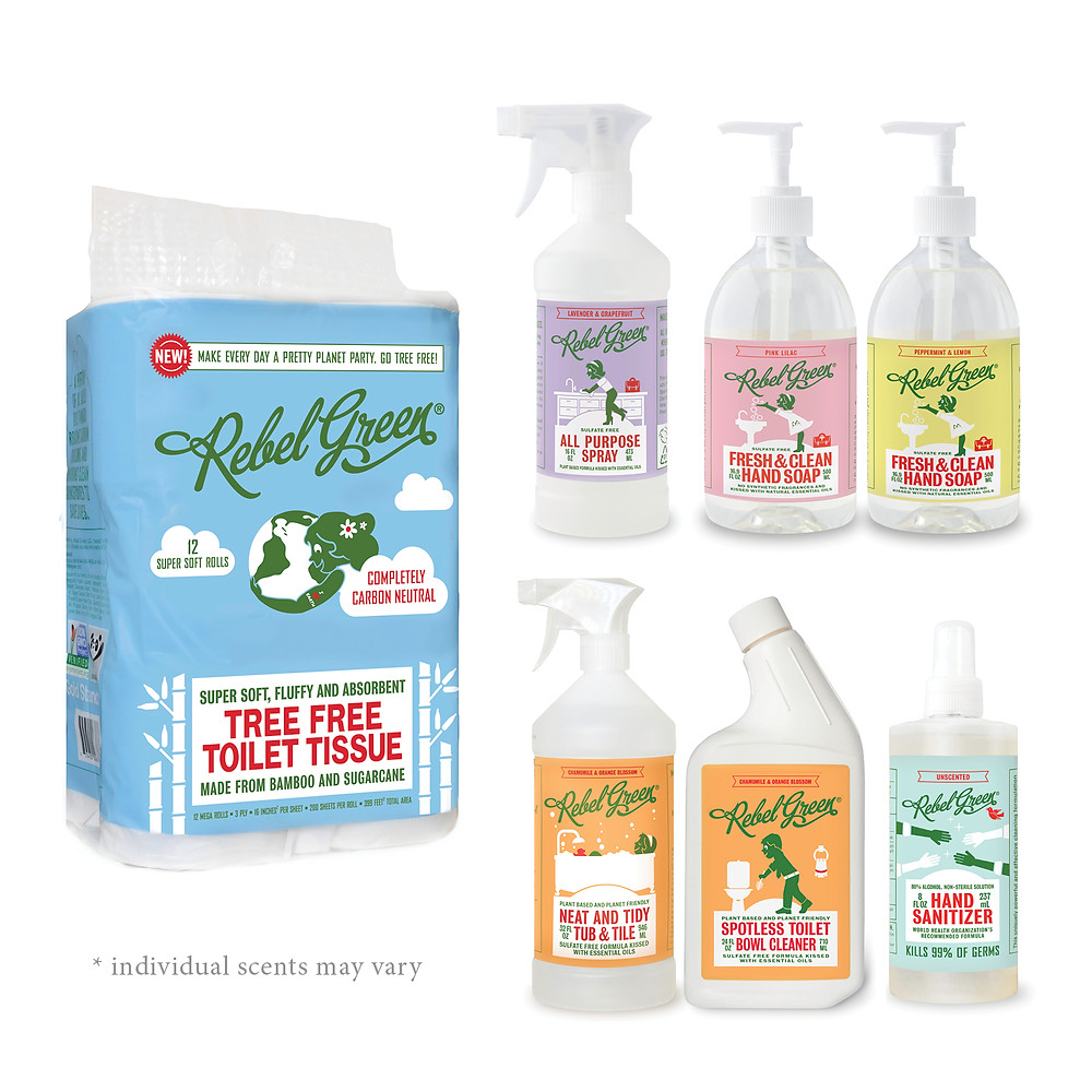 Rebel green toilet paper, all purpose cleaner, hand sanitizer, and soap product images