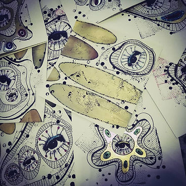 "...The series of ""Corontine-Diary II""-Glitter Virus Paintings (20cm*20cm each)Artwork©Barbara Schedl"