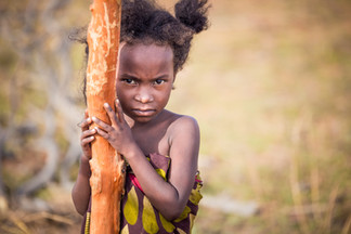 Portrait little young girl Madagascar Africa