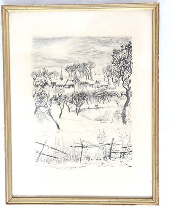 "Lithographie ""Paysage hivernal"""