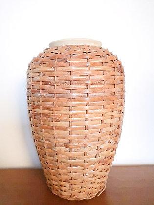 Vase en grès & osier