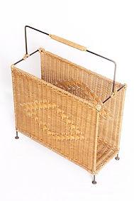 rotin,osier,bambou,meuble,porte-revues,vintage,brocante