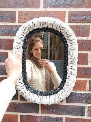 Miroir en bois et rotin