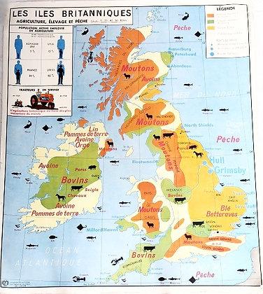 Carte scolaire Les îles britanniques / Les Etats-Unis d'Amérique