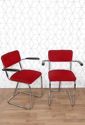 Chaise(s) en velours style Gispen