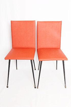Paire de chaises orange