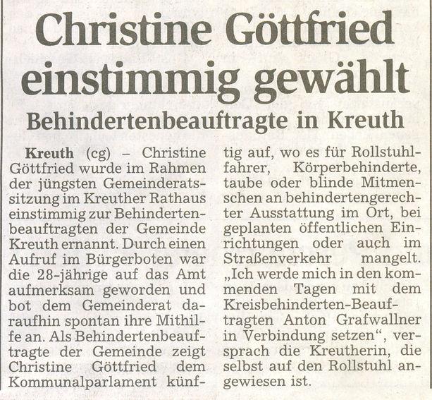 Behindertenbeauftragte Christine Göttfried in Kreuth einstimmig gewählt