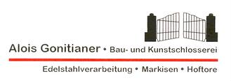 Logo von Alois Gonitianer Bau und Kunstschlosserei (Edelstahlverarbeitung, Markisen, Hoftore)
