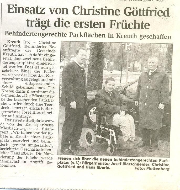 Einsatz von Christine Göttfried trägt die ersten Früchte für behindertengerechte Parkflächen in Kreuth