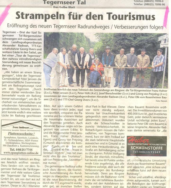 Strampeln für den Tourismus - Eröffnung des neuen Tegernseer Radrundweges