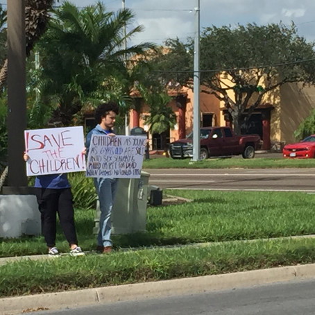"Protesters in McAllen say, ""Save the Children"""
