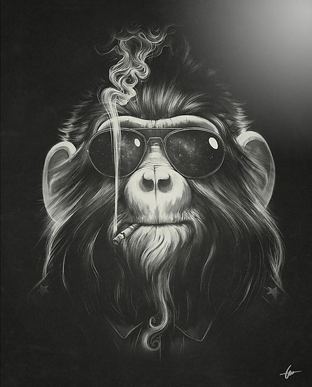 Monkey Smoking Drawing