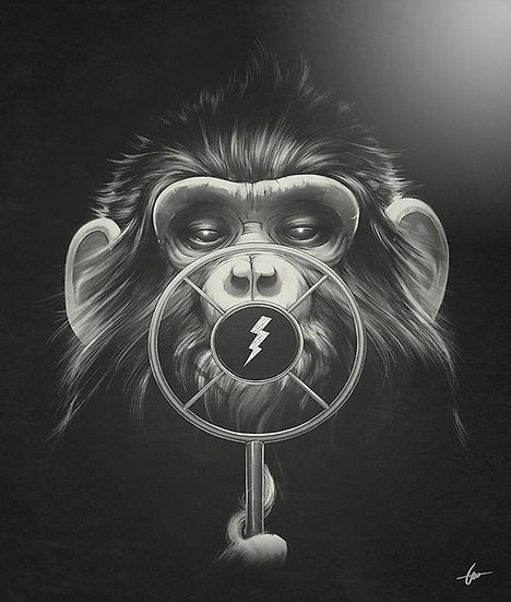 Monkey Behind Microphone Drawing