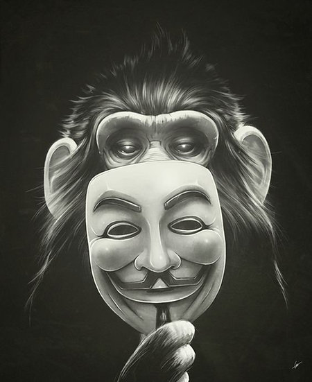 Monkey Behind Mask Drawing