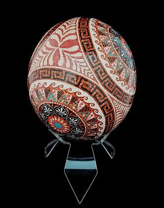 Blown Batik Ostrich Display Egg