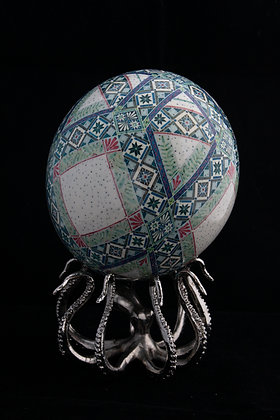 Blown Batik Ostrich Egg