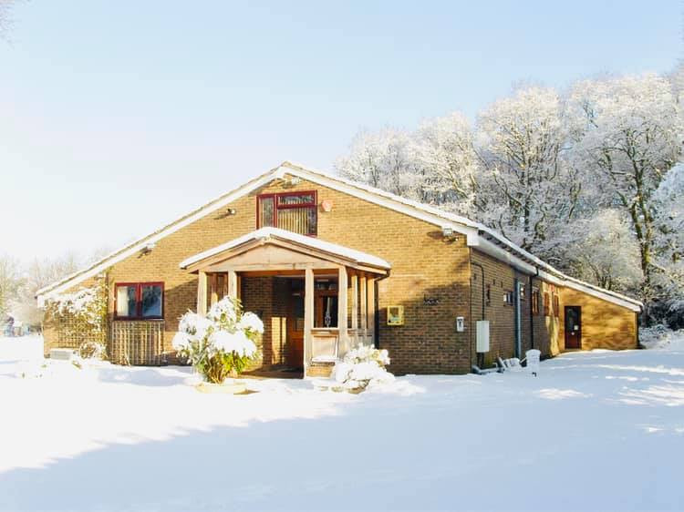 Medstead Village Hall in snow fall