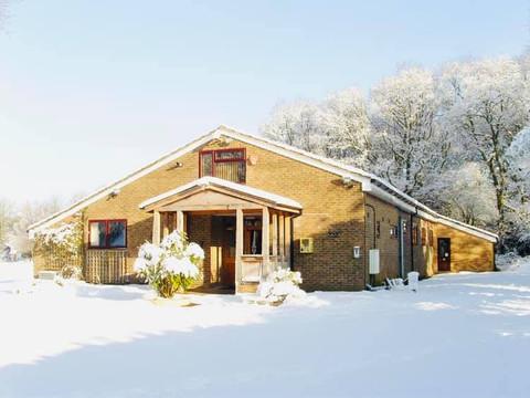 Medstead Village Hall in snow fall
