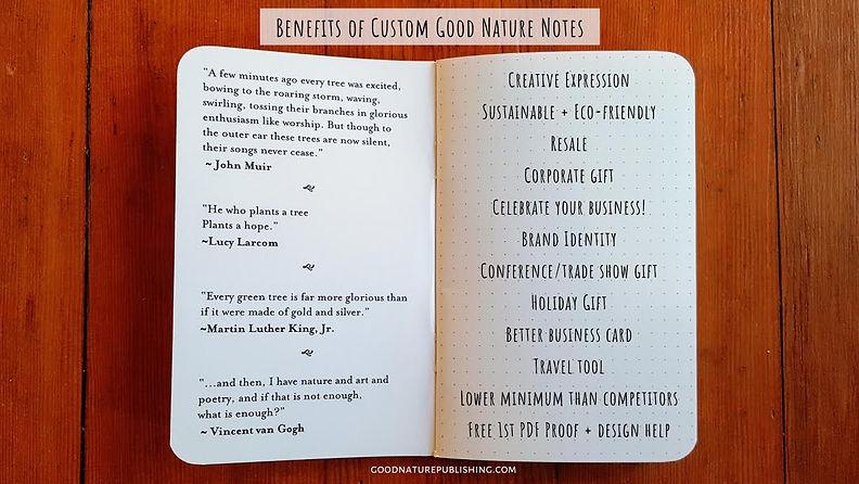 Good Nature Custom biz notebook benefits