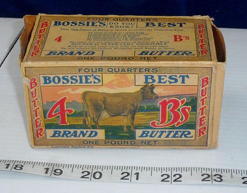 "Advertising Cardboard Box ""Bossies Best Brand Butter"""