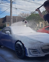 Car getting foam washed
