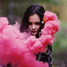 Girl with Smoke Flares