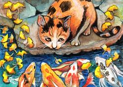 Cat By Koi Pond