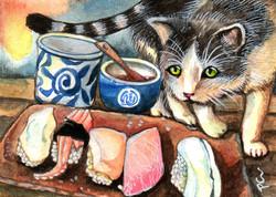 Cat Looking At Sushi