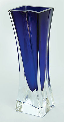 LOTE 225. Vaso em cristal azul e branco. Cristallerie de Sévre.