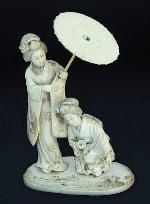 LOTE 136. Escultura chinesa em marfim.