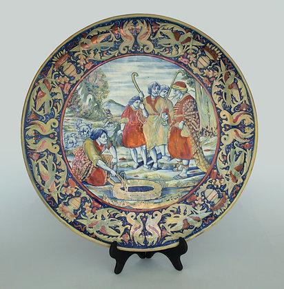 LOTE 100. Medalhão em porcelana européia decorado.