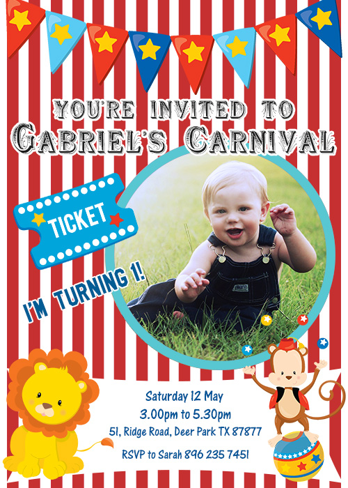 Circus carnival birthday invitation