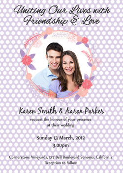 Wedding invite - purple flower theme