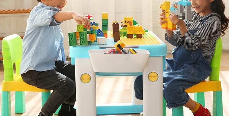 Комплект: стол, 2 стула, конструктор ЛЕГО (цвет голубой)