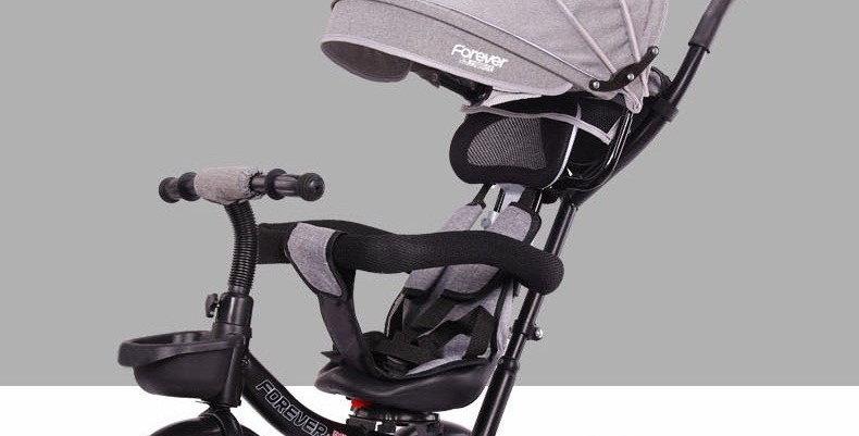 Велосипед-коляска серый