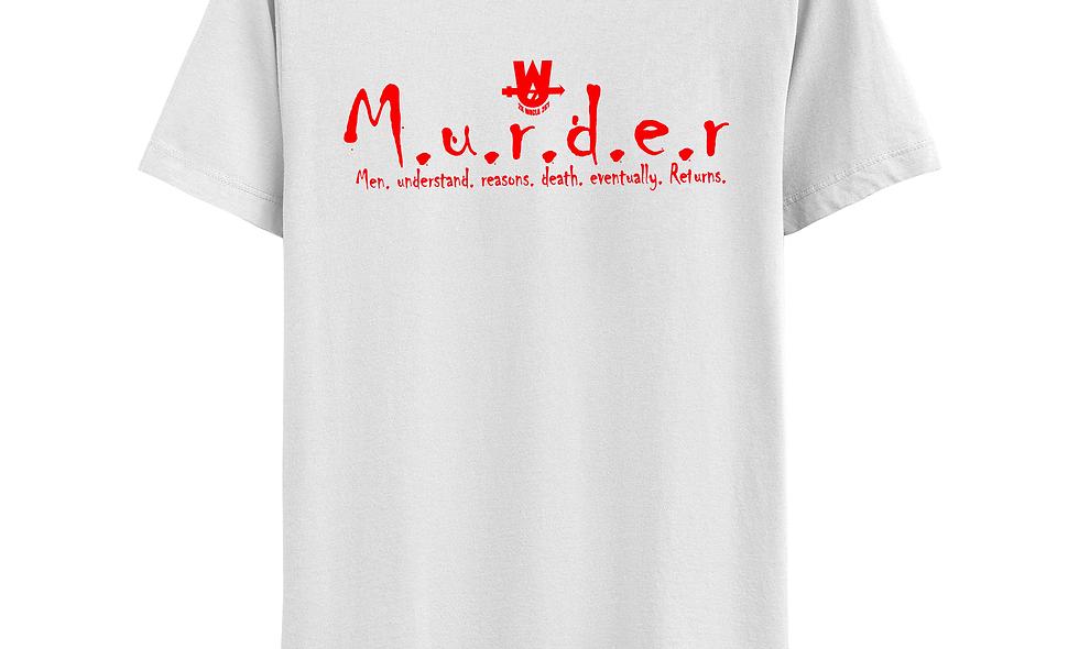 White and Red MurderLogo Tee