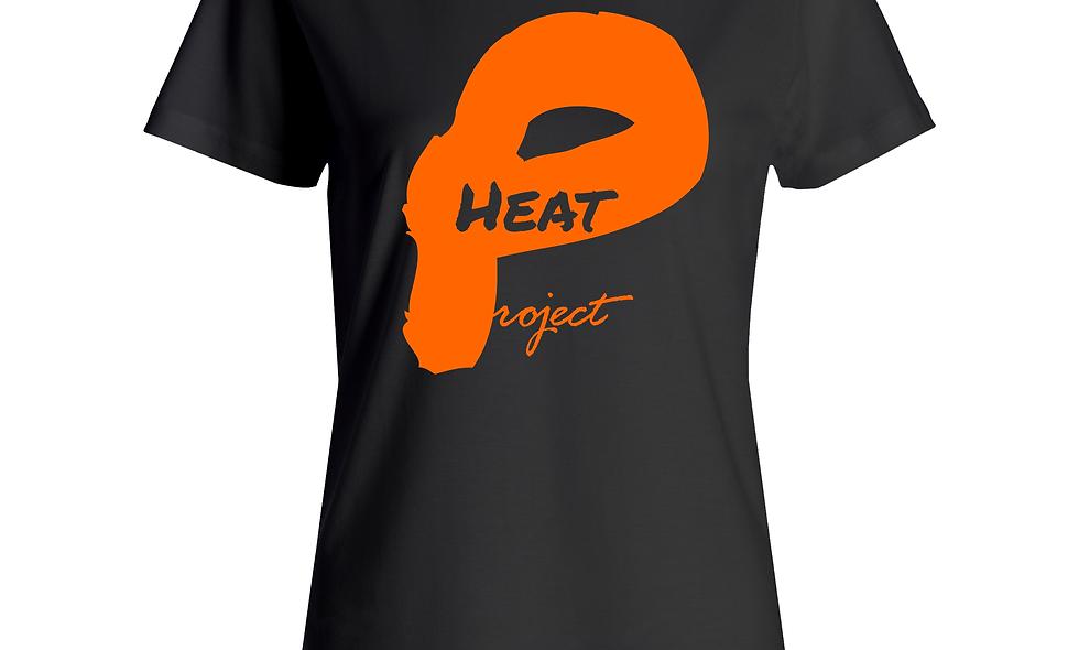 Female Black and Orange Logo Tee