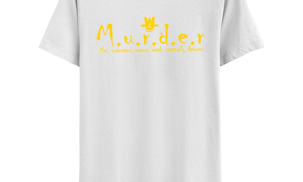 White and Yellow MurderLogo Tee