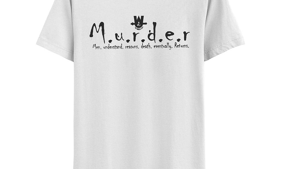 White and Charcoal Grey MurderLogo Tee