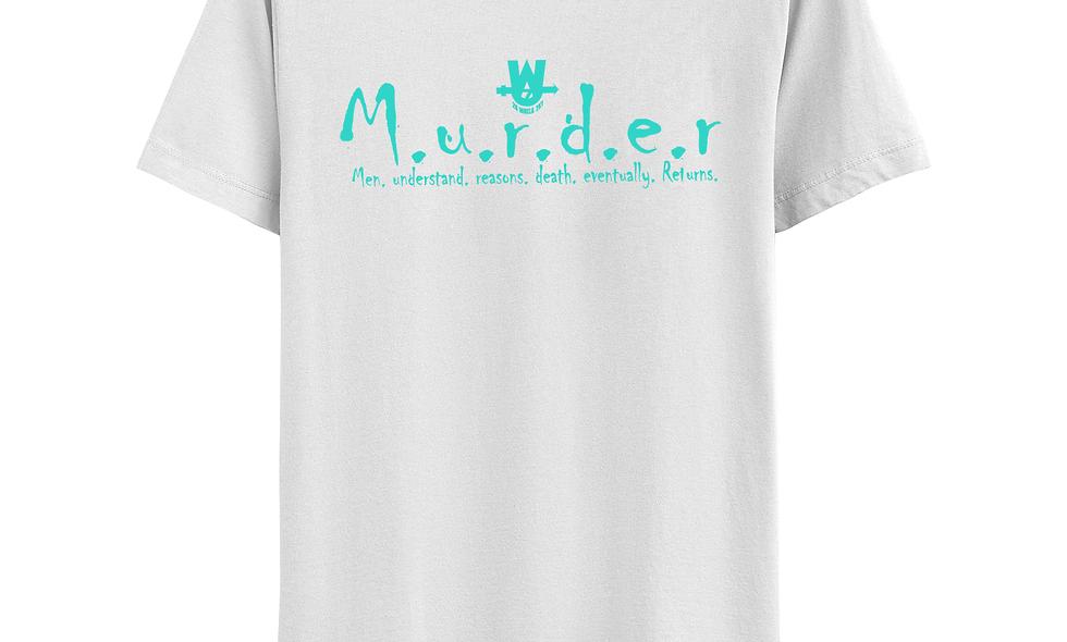 White and  Torquoise MurderLogo Tee
