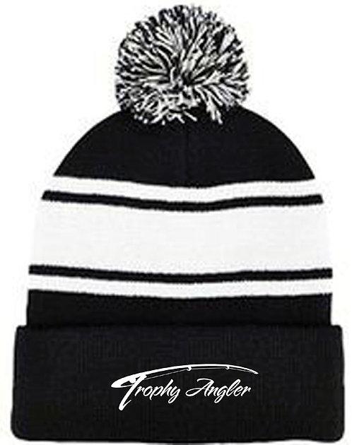Trophy Angler Pom Knit Hat (B/W)