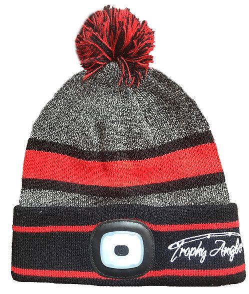 200 Lumen Rechargeable LED POM Knit Hat (Black/Grey)
