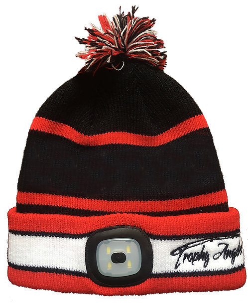 200 Lumen Rechargeable LED POM Knit Hat (Black/Red )